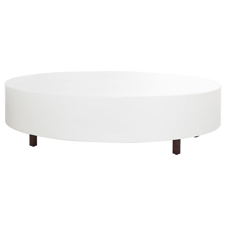 Drop Coffee Table Round Wood Legs White Lacquered