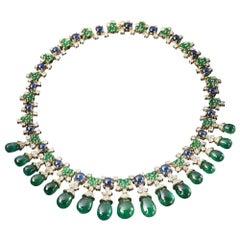 Veschetti Drop-cut Emerald, Sapphire and Diamond Necklace