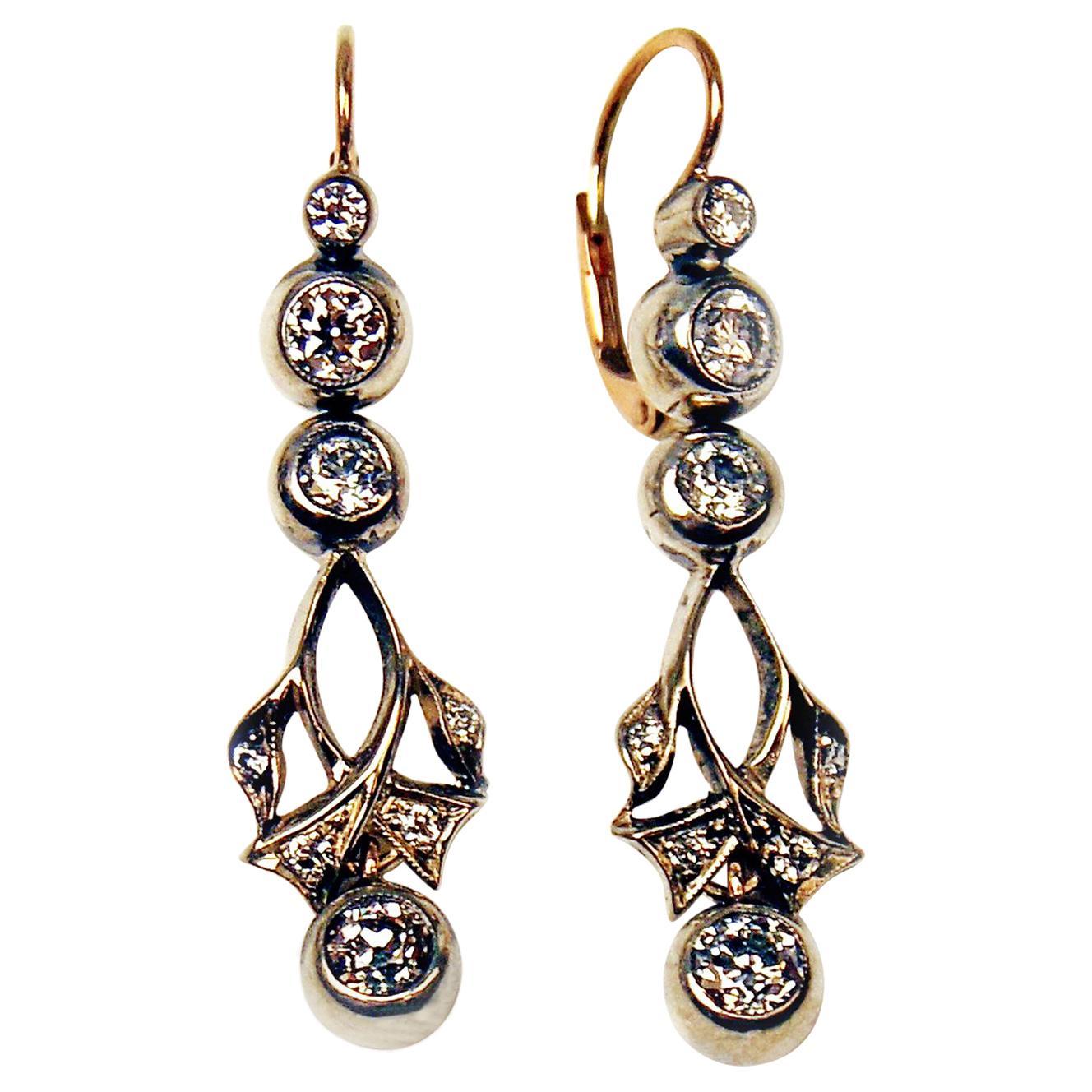 Drop Dangle Earrings 14ct Gold 585 Diamonds 1.40 Ct Vienna Austria c.1900