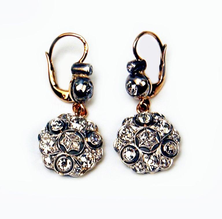 Art Nouveau Drop Dangle Earrings 14ct Gold 585 Diamonds 2.40 Ct, Vienna, Austria, circa 1900 For Sale