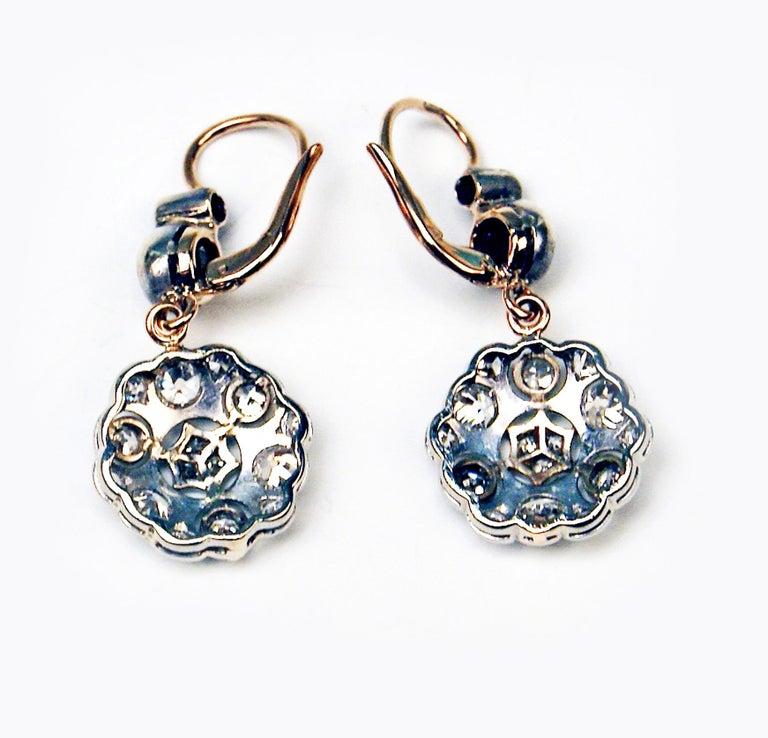 Old European Cut Drop Dangle Earrings 14ct Gold 585 Diamonds 2.40 Ct, Vienna, Austria, circa 1900 For Sale