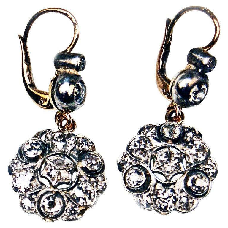 Drop Dangle Earrings 14ct Gold 585 Diamonds 2.40 Ct, Vienna, Austria, circa 1900 For Sale