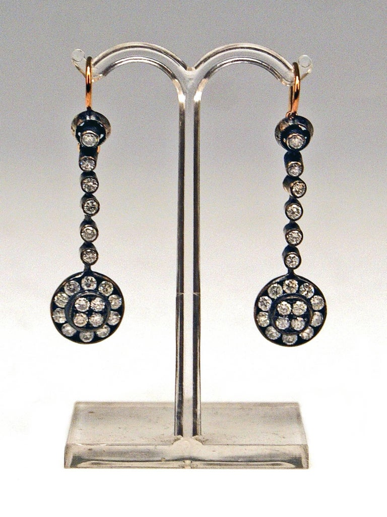 Art Nouveau Drop Dangle Earrings 14ct Gold 585 Old-Cut Brilliants 3Ct Vienna Austria c.1900 For Sale