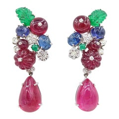 Drop Dangle White Gold Earrings with Diamond and Carved Ruby Sapphire Emerald
