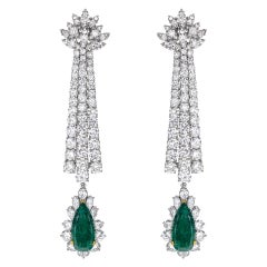Drop Diamond Earrings with Emeralds in Platinum