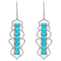 Drop Earring in 18K White Gold with Turquoise and Diamond