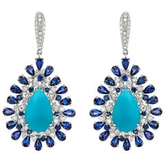 Drop Earring in 18 Karat White Gold with Turquoise, Blue Sapphire and Diamond