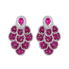 Drop Earring in 18k Gold with Ruby and Diamond