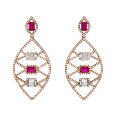 Drop Earring in 18k Rose Gold with Ruby and Diamond