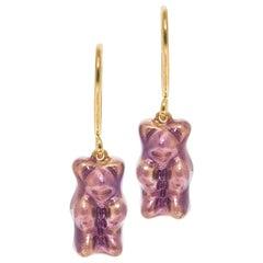 Drop Earrings Gummy Bears Grape Gift 18 Karat Silver Gold-Plated Greek Jewelry