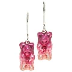 Drop Earrings Gummy Bears Ombre Plum Sterling Silver Enamel Greek Jewelry