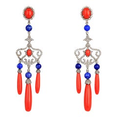 Drop Earrings in 18 Karat Gold, Red Coral Lapislazuli with Coral Diamonds