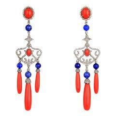 Drop Earrings in 18 Karat Gold, Red Coral Lapislazuli with Coral Diamonds