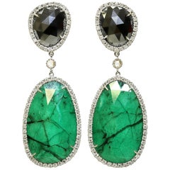 Drop Earrings in Hematite, Emerald and White Diamond in 18-Karat Gold