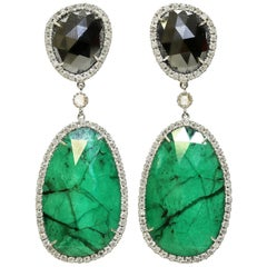 Drop Earrings in Hematite, Emerald and White Diamond in 18 Karat Gold