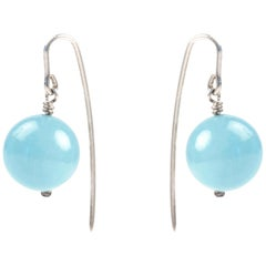 Drop Earrings in Silver and Agate by Anne Leger