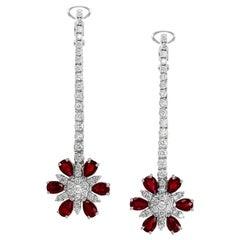 Drop Earrings Rubies Graduated Diamonds 18 Karat White Gold Omega Back Clasp