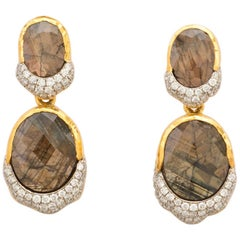 Drop Earrings with Gold Sapphires '10.97 Carat' and Diamond Accents 0.76 Carat