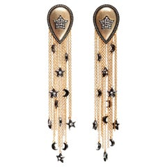 Drop Earrings with Moons and Stars Tassels in Vermeil Gold
