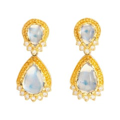 Drop Earrings with Moonstone (8.34ct) and Diamonds (0.38ct) set in 24k Gold