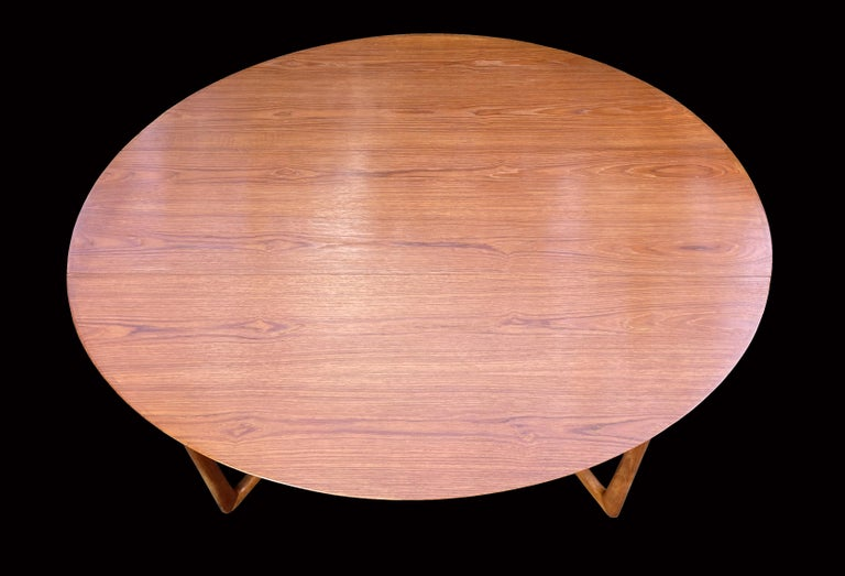 Danish Drop Flap Teak and Brass Dining Table by Peter Hvidt for France & Søn For Sale