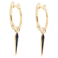 Drop Hoop Earrings, 14 Karat Yellow Gold Huggie Spike Drop, Gabriel EG14093Y4JJJ