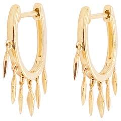 Drop Huggie Earrings, 14 Karat Yellow Gold Hoop Spike Drops, Huggie Earrings