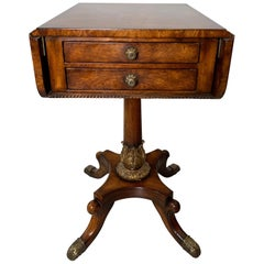 Drop Leaf Pedestal Table with Drawers by Theodore Alexander