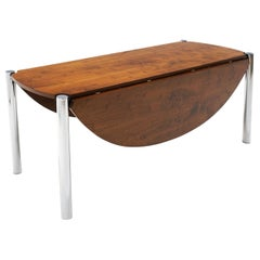 Drop-Leaf Rosewood and Chrome Dining Table Attributed to Milo Baughman