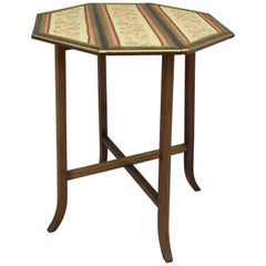 Drop-Leaf Side Table Original Embroidered Top Folding French, circa 1910