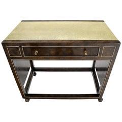Drop Leaf Textured Brass Top Burl Wood Rolling Serving Cart Bar by Mastercraft