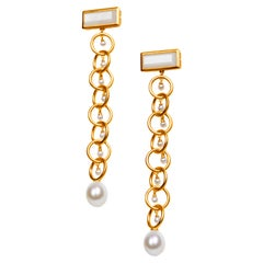 Drop Links Earrings the Rebel Queen Nefertiti with Moonstone and Pearls