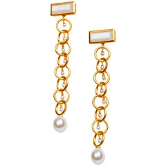 Drop Links Vermeil Earrings Links with Moonstone and Pearls
