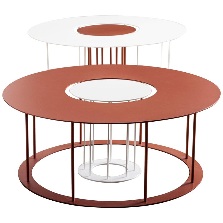 Drop Metal Coffee Table Two in One, Made in Italy For Sale