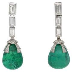Drop Natural Unenhanced Emerald and Diamond Earrings, circa 1970