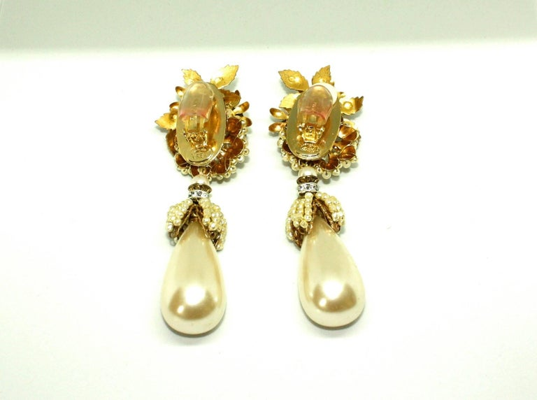Contemporary Drop Pearl Clip Earrings by Lawrence Vrba For Sale