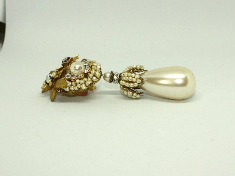 Women's Drop Pearl Clip Earrings by Lawrence Vrba For Sale