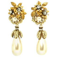 Drop Pearl Clip Earrings by Lawrence Vrba