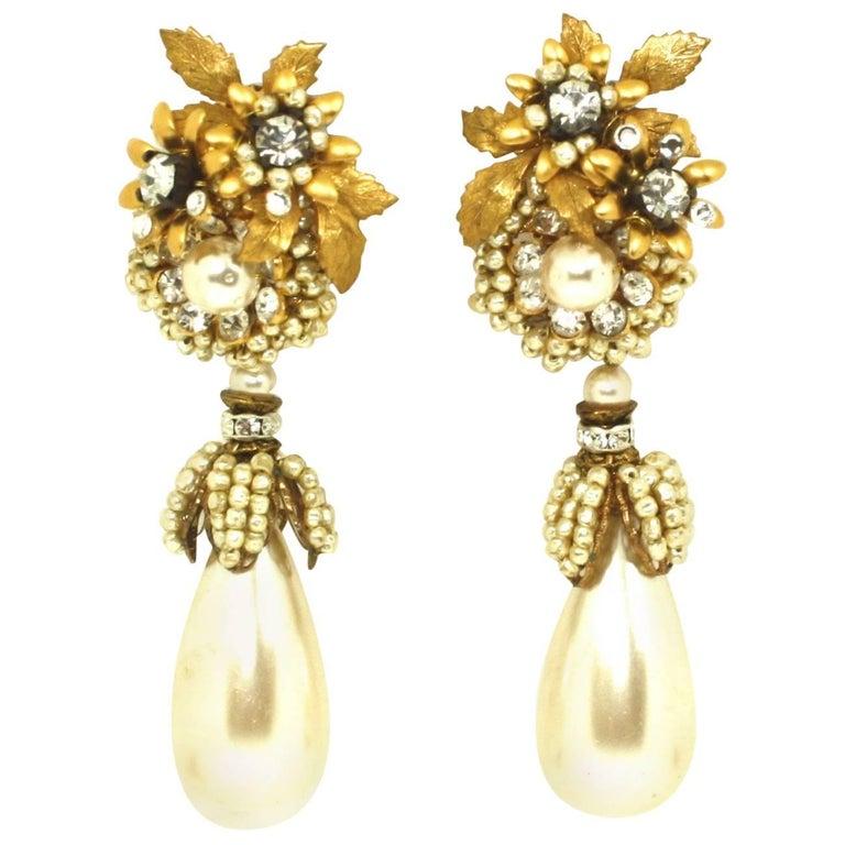 Drop Pearl Clip Earrings by Lawrence Vrba For Sale