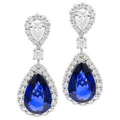 Drop Sapphire and Diamond Halo Earrings