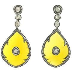 Drop Shape Yellow Onyx Earrings with Diamonds