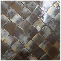 Drop Silvered Oak Handcrafted and Glazed Bespoke Ceramic Tiles by Studio Sors
