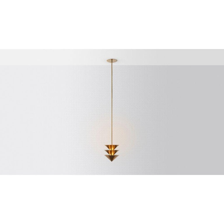 Drop Stack 3 by Volker Haug  Pyramid Scheme series Dimensions: W 21, D 21, H 53 cm Support: 15 cm  Suspension: minimum 53 cm Material: Brass Finishes: Polished, brushed or bronzed brass; enamel or chrome plated.  Custom finishes available on