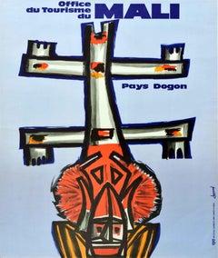 Original Vintage Travel Poster Mali Land Of Dogon West Africa Mask Sculpture Art