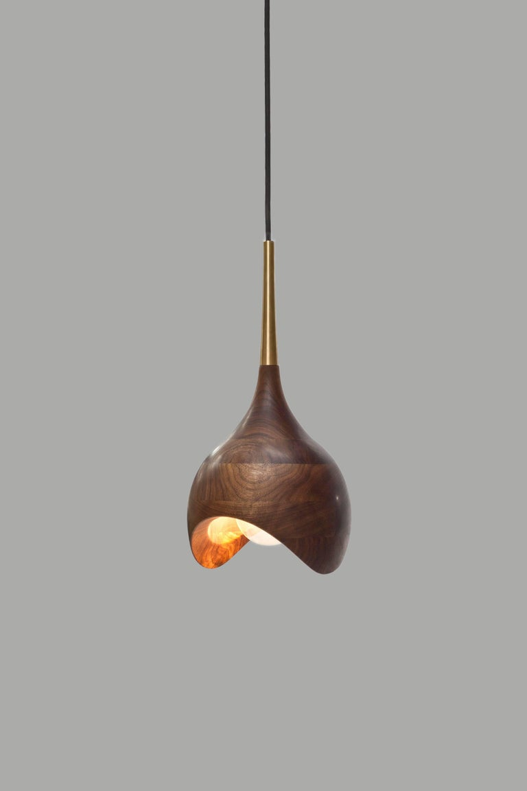 Scandinavian Modern Dråpe Pendant Lamp in Oiled Walnut and Turned Brass by Ronny Buarøy for Wooda For Sale