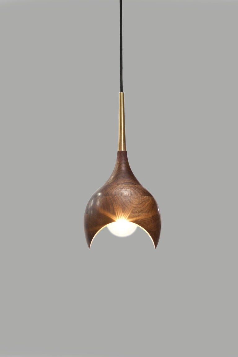 Dråpe Pendant Lamp in Oiled Walnut and Turned Brass by Ronny Buarøy for Wooda In New Condition For Sale In Omro, WI