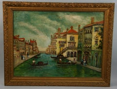 Antique Venice Canal Seascape Landscape Oil Painting 1940