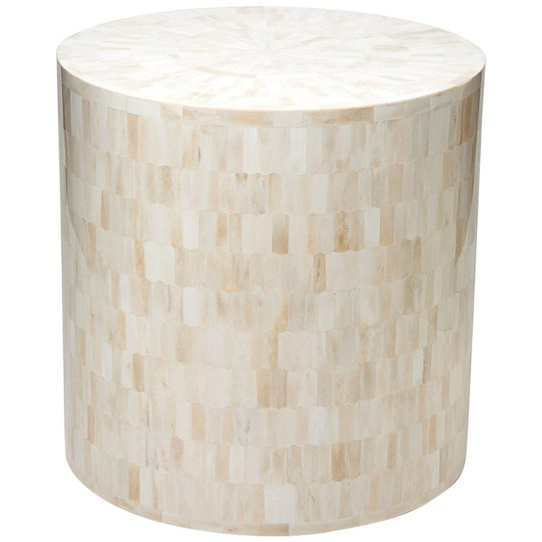 Drum End Table Stool With Tessellated Bone Marquetry For Sale At 1stdibs