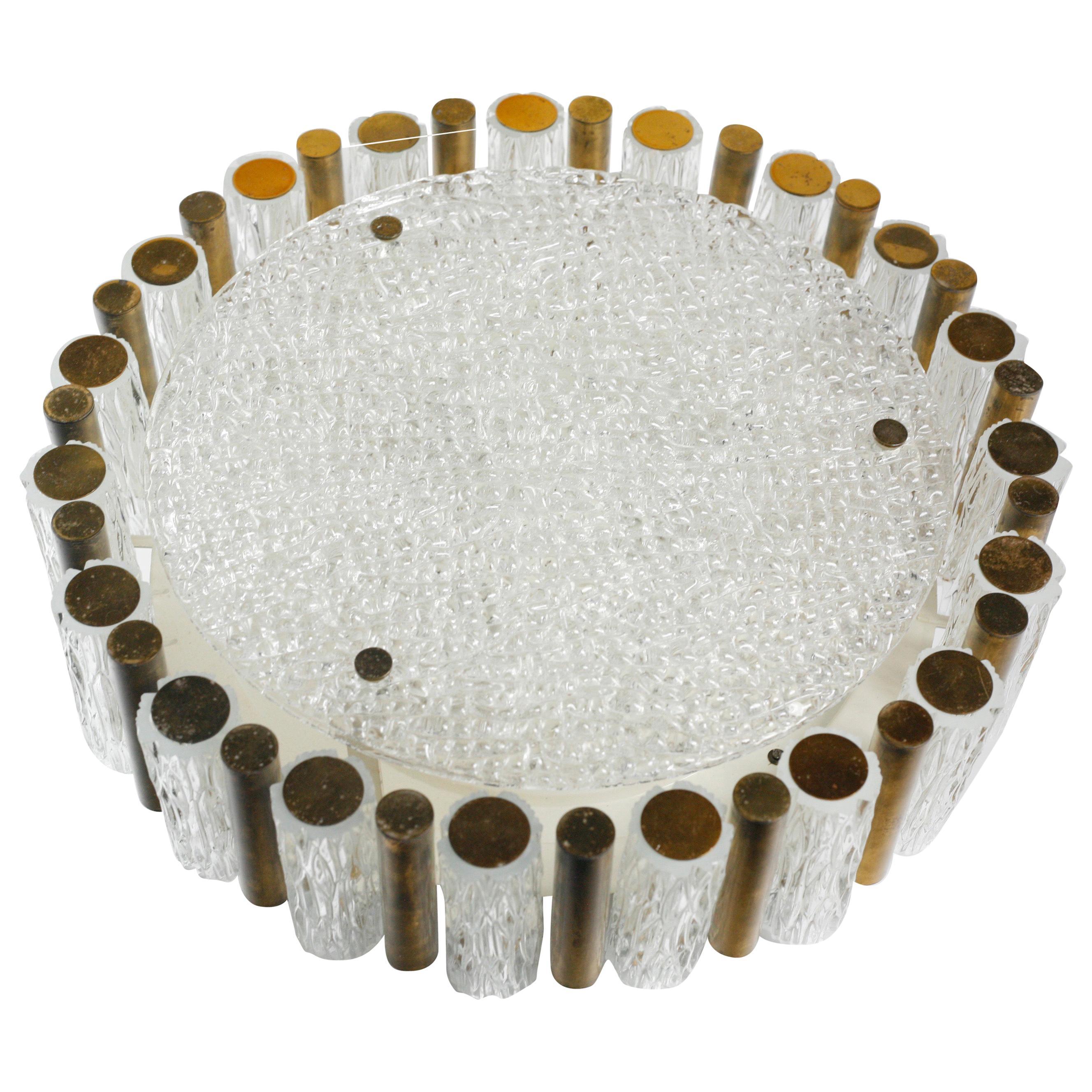 Drum Shaped Glass/Brass Rose Gold Kalmar Flush Mount, Germany, 1960
