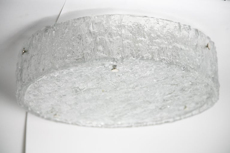 Metal Drum Shaped Glass Flush Mount by Kaiser, Germany, 1960 For Sale